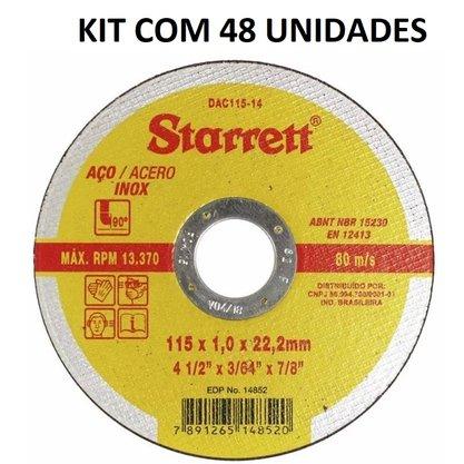 KIT Disco Corte 4.1/2X1MMX7/8 DAC115-14 STARRET 48Peças