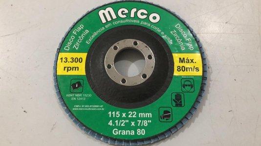 KIT Disco Flap 4.1/2 GR80 Zirconado MERCO -10 Peças